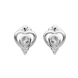 Silver Heart Trinity Stud Earrings Set A Crystal Td239