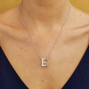 Silver Initial E Adorned With White Crystal Sw114_2