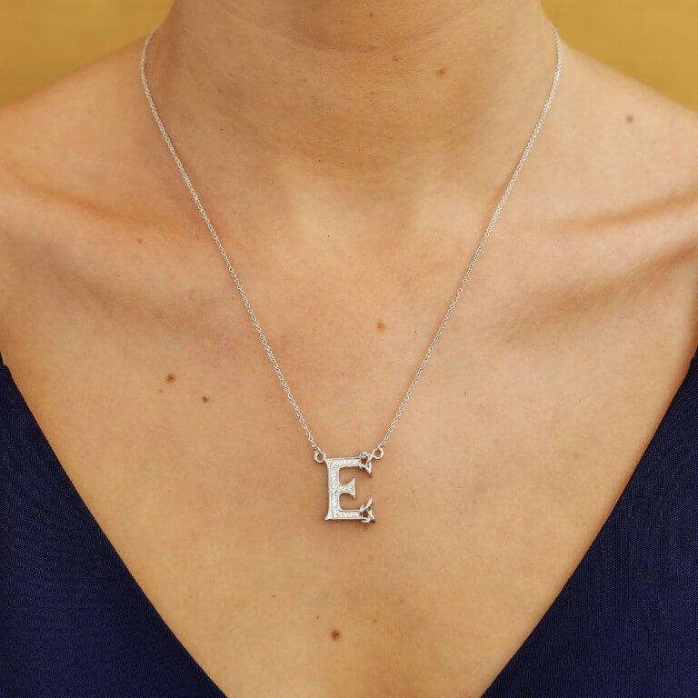 Silver Initial E Adorned With White Swarovski Crystal Sw114_2