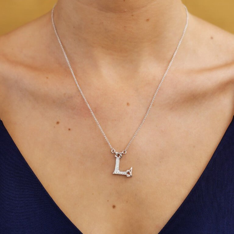 Silver Initial L Adorned With White Swarovski Crystal Sw115_2