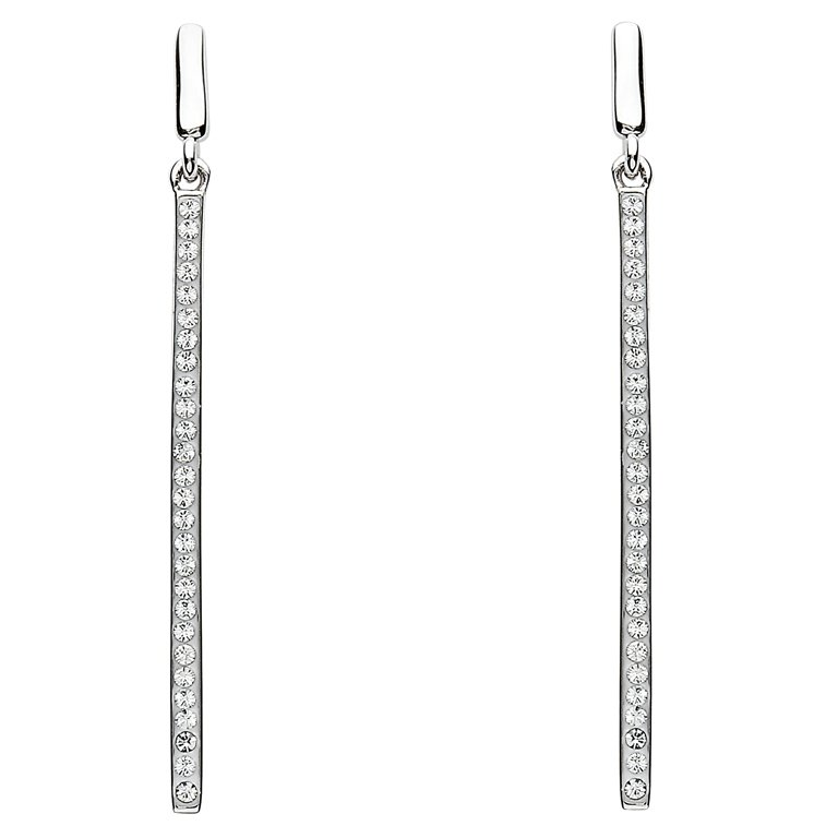 Silver Long Drop Earrings Adorend With White Swarovski Crystal St15