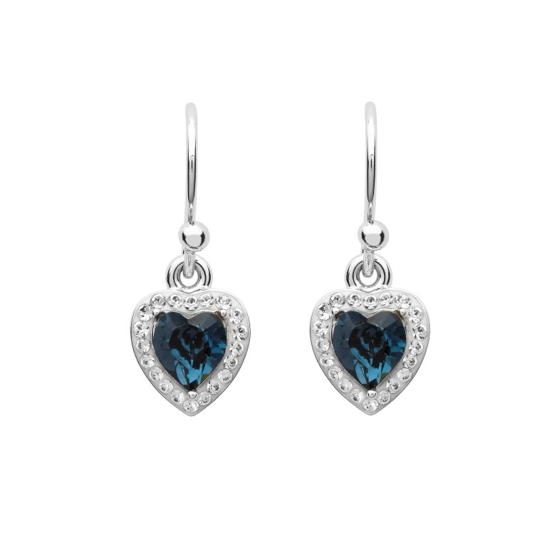 Silver Pear Shape Earrings Encrusted With Sapphire And White Swarovski Crystals St65