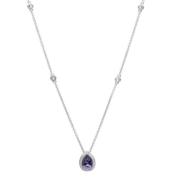 Silver Pear Shape Pendant Encrusted With Amethyst And White Swarovski Crystals St68
