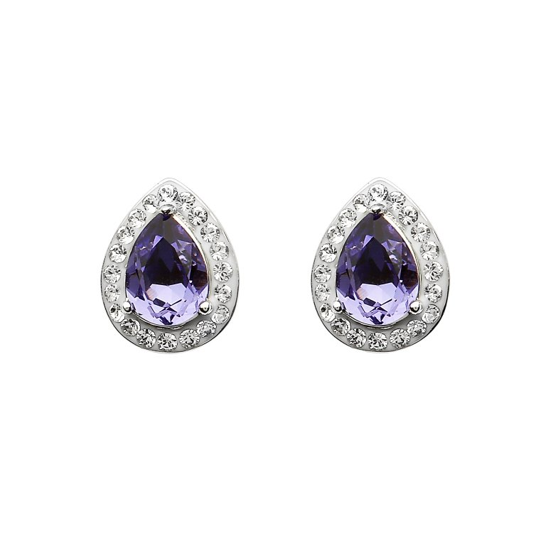 Silver Pear Shape Stud Earrings Encrusted With Amethyst And White Swarovski Crystals St69