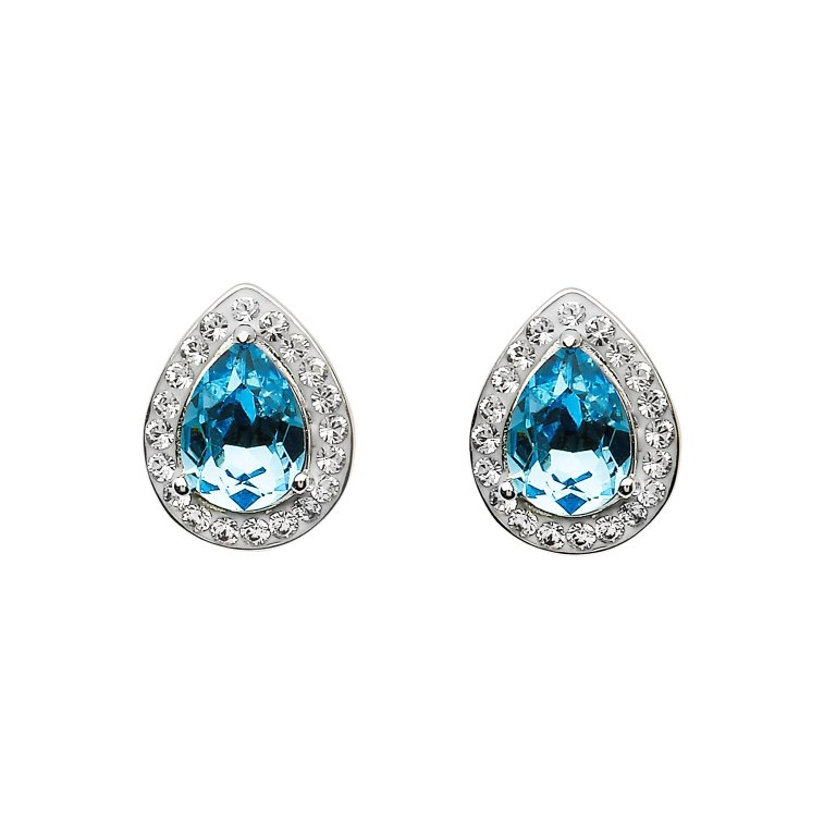 Silver Pear Shape Stud Earrings Encrusted With Aquamarine And White Swarovski Crystals St67