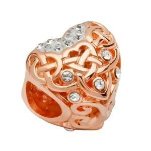 Silver Rose Gold Celtic Style Bead Adorned With Crystals Td252
