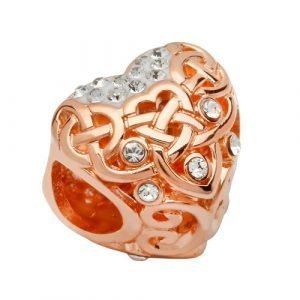 Silver Rose Gold Celtic Style Bead Adorned With Crystals Td252_2