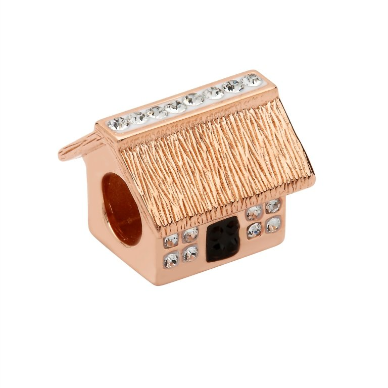 Silver Rose Gold Cottage Bead Adorned With Crystals Td254