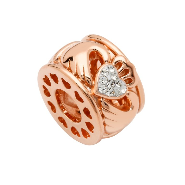 Silver Rose Gold Plated Claddagh Bead Adorned With Swarovski Crystals Td257
