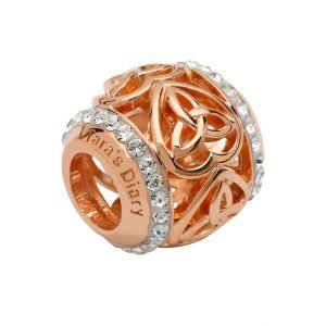 Silver Rose Gold Trinity Heart Bead Adorned With Crystals Td250