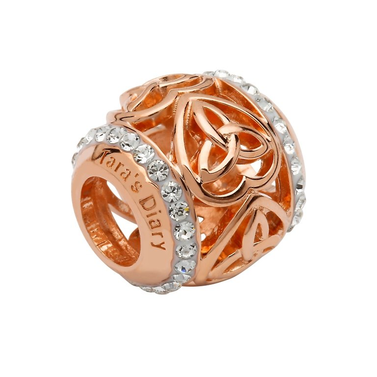Silver Rose Gold Trinity Heart Bead Adorned With Swarovski Crystals Td250