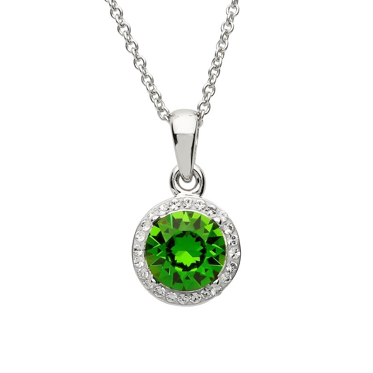 Silver Round Halo Pendant Encrusted With Emerald And White Swarovski Crystals St62