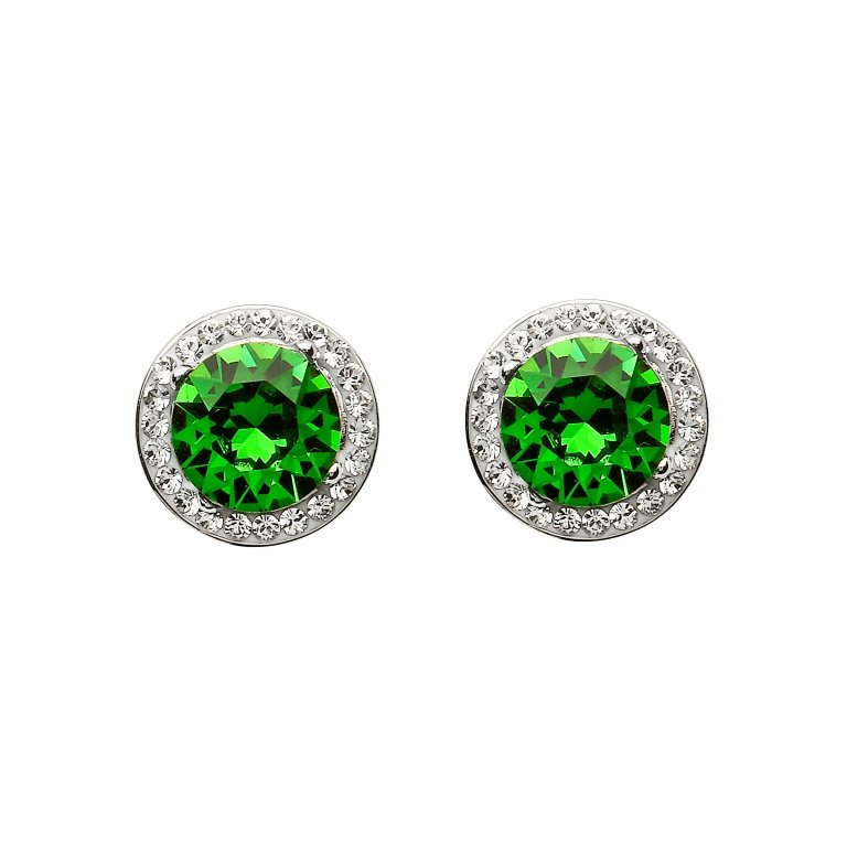 Silver Round Halo Stud Earrings Encrusted With Emerald And White Swarovski Crystals St63