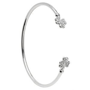 Silver Shamrock Bangle Adorned With Swarovski Crystal Sw72