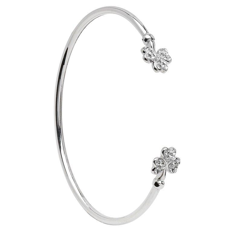 Silver Shamrock Bangle Adorned With Swarovski Crystal Sw72