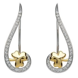 Silver Shamrock Climber Earrings Encrusted With Swarovski Crystal Sw80