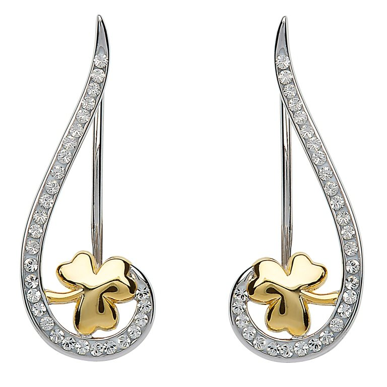 Silver Shamrock Climber Earrings Encrusted With Swarovski Crystal Sw80