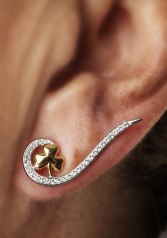 Silver Shamrock Climber Earrings Encrusted With Swarovski Crystal Sw80_2