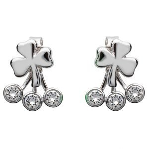 Silver Shamrock Earrings Adorned With Crystal Sw84