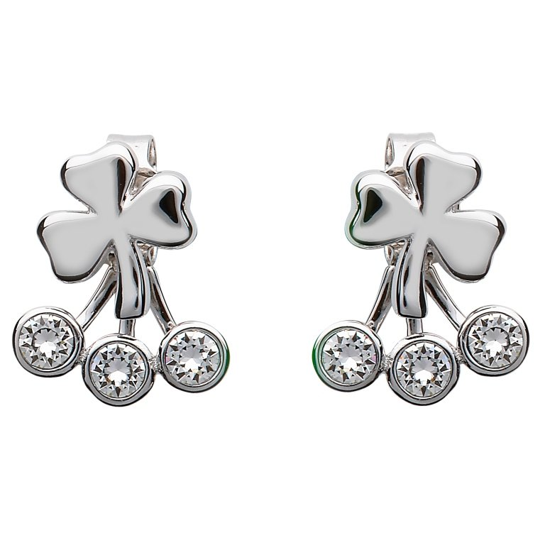 Silver Shamrock Earrings Adorned With Swarovski Crystal Sw84