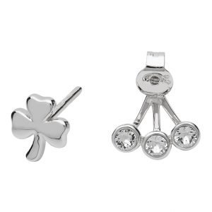 Silver Shamrock Earrings Adorned With Crystal Sw84_2