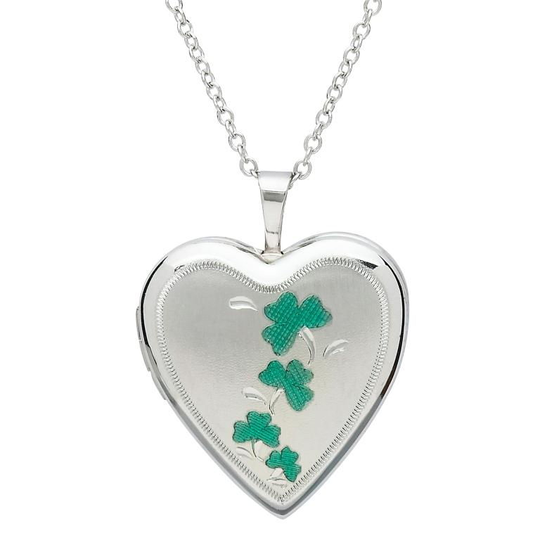 Silver Shamrock Heart Shape Irish Locket Tfc2