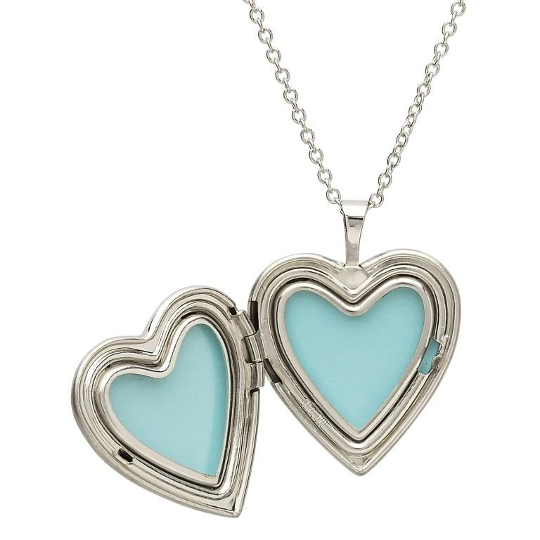 Silver Shamrock Heart Shape Irish Locket Tfc2_2