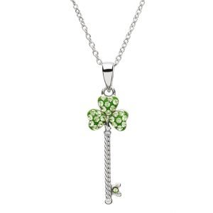 Silver Shamrock Key Pendant Encrusted With Crystals Sw106