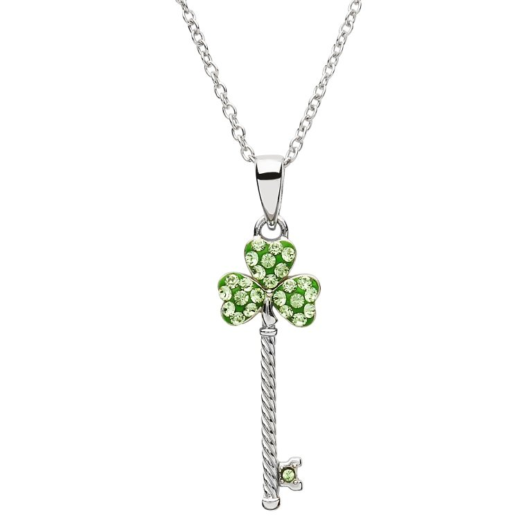 Silver Shamrock Key Pendant Encrusted With Swarovski Crystals Sw106