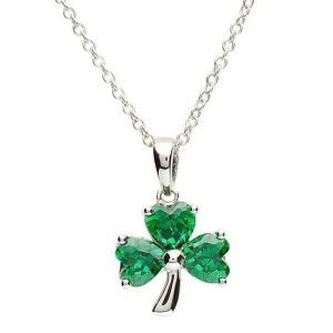 Silver Shamrock Stone Set Necklace Sp1095