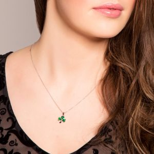 Silver Shamrock Stone Set Necklace Sp1095_2