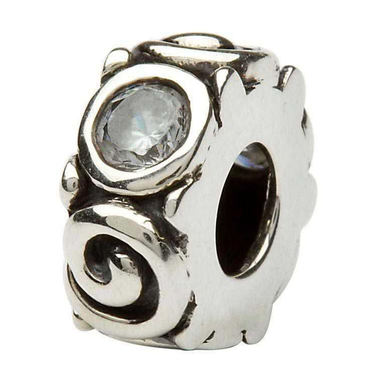 Silver Spiral April Birthstone Bead Td107Cz