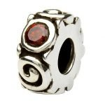 Silver Spiral January Birthstone Bead Td107G - Gallery Thumbnail Image