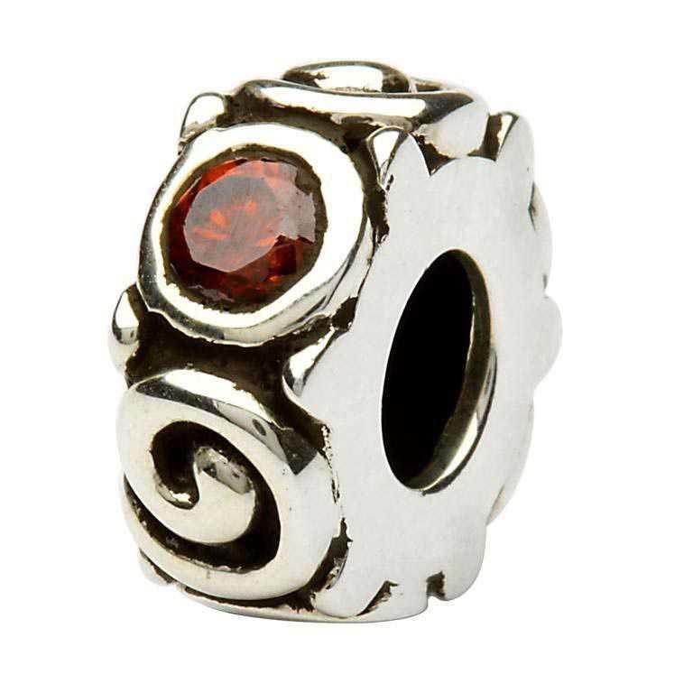 Silver Spiral January Birthstone Bead Td107G