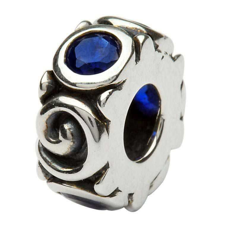 Silver Spiral September Birthstone Bead Td107S