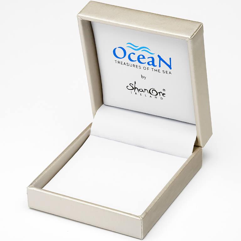 Silver Stingray Abalone Pendant Adorned With White Swarovski Crystal Oc14_2