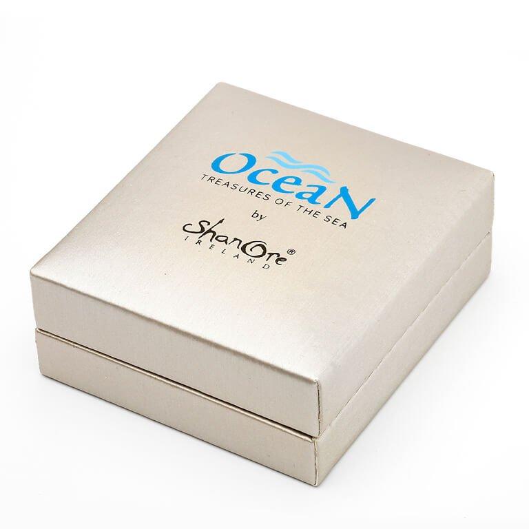 Silver Stingray Abalone Pendant Adorned With White Swarovski Crystal Oc14_3
