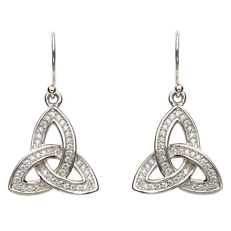 Silver Stone Set Celtic Trinity Knot Earrings Se2081Cz