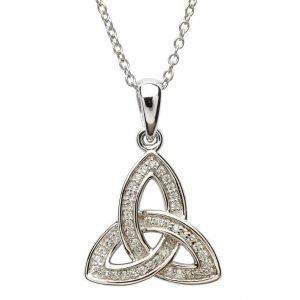Silver Stone Set Celtic Trinity Knot Necklace Sp2080Cz