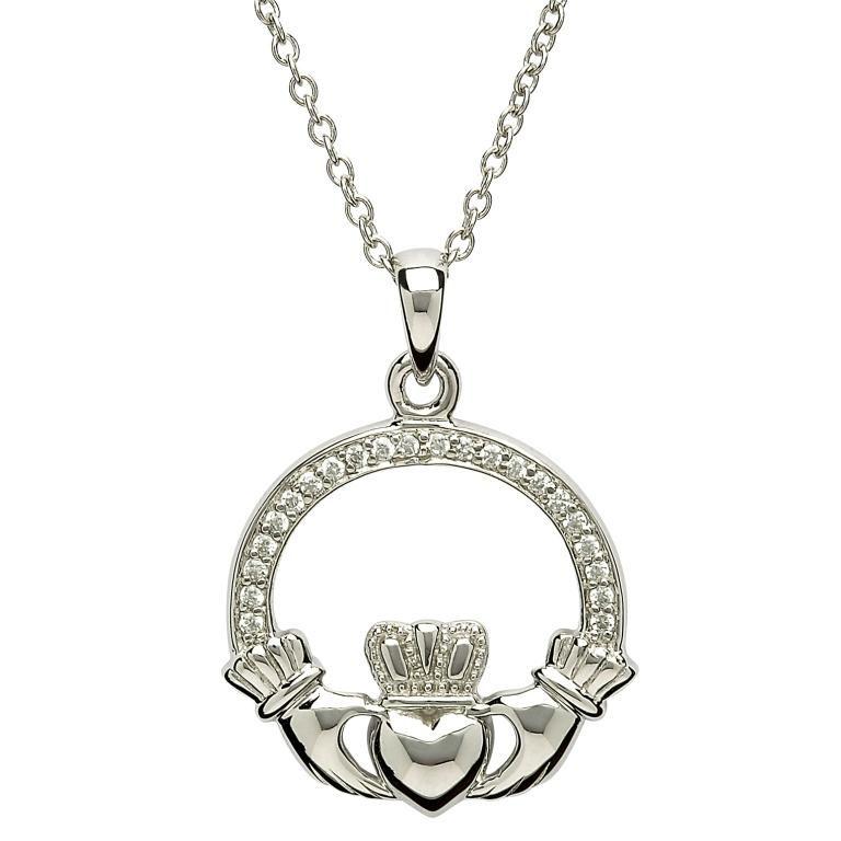 Silver Stone Set Claddagh Necklace Sp2070Cz