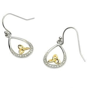 Silver Stone Set Earrings With Gold Plated Trinity Se2073Cz