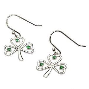 Silver Stone Set Shamrock Earrings Se2014