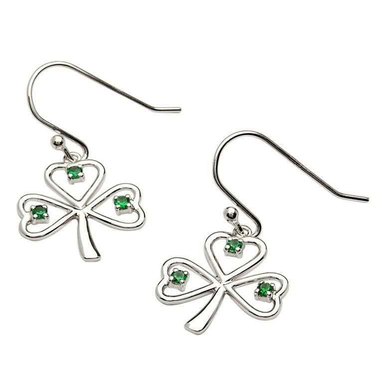 Silver Stone Set Shamrock Earrings Se2014