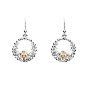 Silver Taras Princess Heart Trinity Earrings Adorned With A Crystal Td237