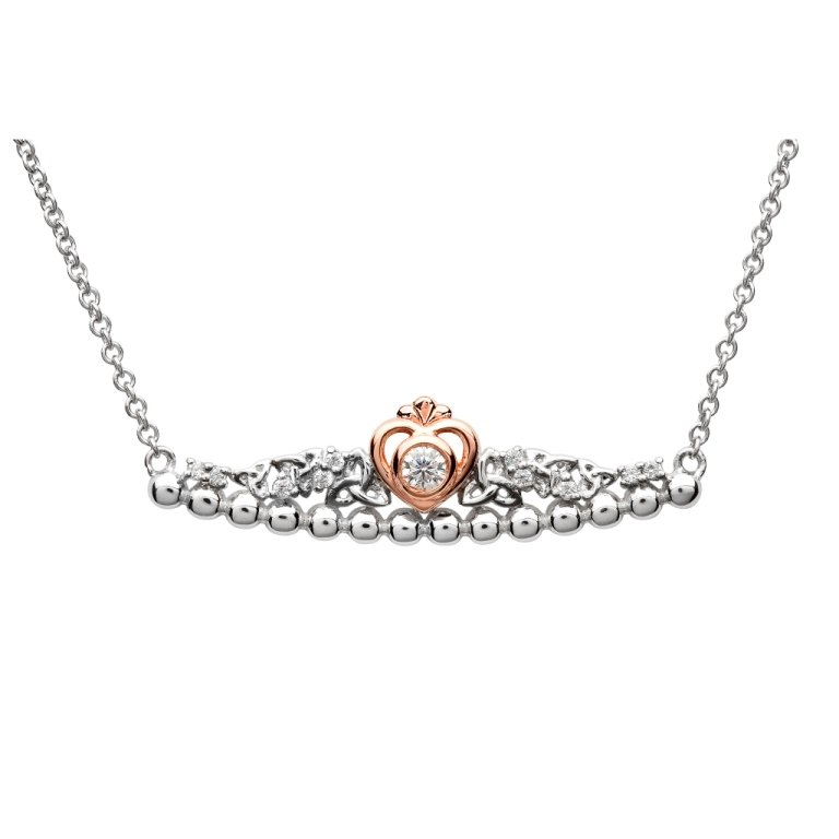 Silver Taras Princess Heart Trinity Pendant Adorned With A Crystal Td236