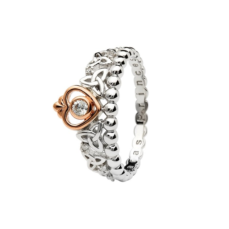 Silver Taras Princess Heart Trinity Ring Adorned With A Crystal Td248