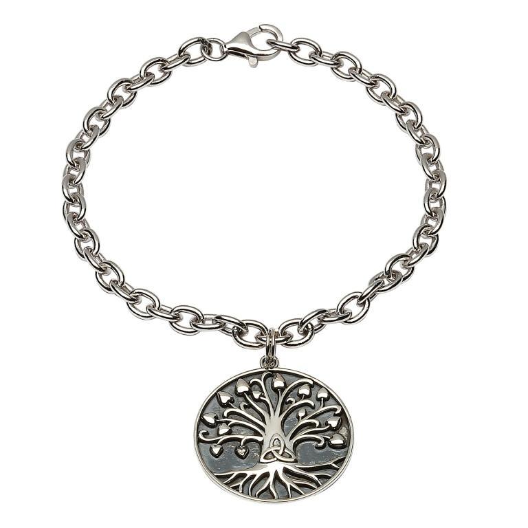 Silver Tree Of Life Trinity Bracelet Sb2107