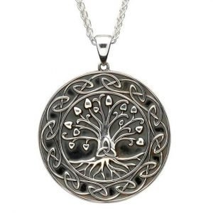 Silver Tree Of Life Trinity Medallion Necklace Large Size Sp2106