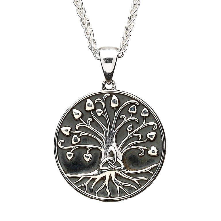 Silver Tree Of Life Trinity Medallion Necklace Medium Size Sp2107