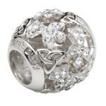 Silver Trinity Angel Bead Encrusted With White Swarovski Crystals Td231 - Gallery Thumbnail Image